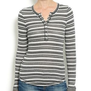 Lucky Brand Striped Henley Chloe Knit Top Small